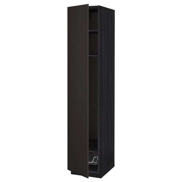 METOD خزانة عالية مع أرفف/سلة سلكية, أسود/Kungsbacka فحمي, 40x60x200 سم