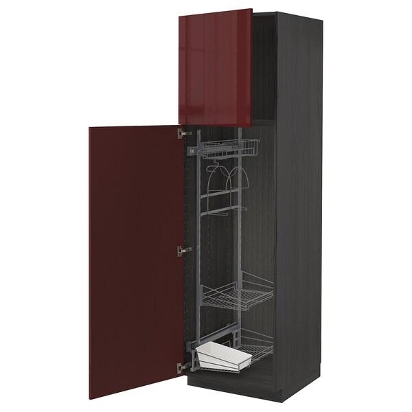 METOD خزانة مرتفعة مع أرفف مواد نظافة, أسود Kallarp/لامع أحمر-بني غامق, 60x60x200 سم