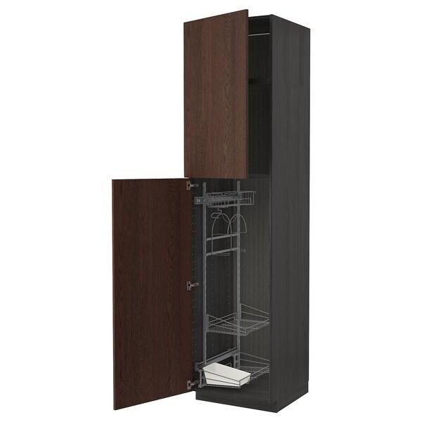 METOD خزانة مرتفعة مع أرفف مواد نظافة, أسود/Sinarp بني, 60x60x240 سم