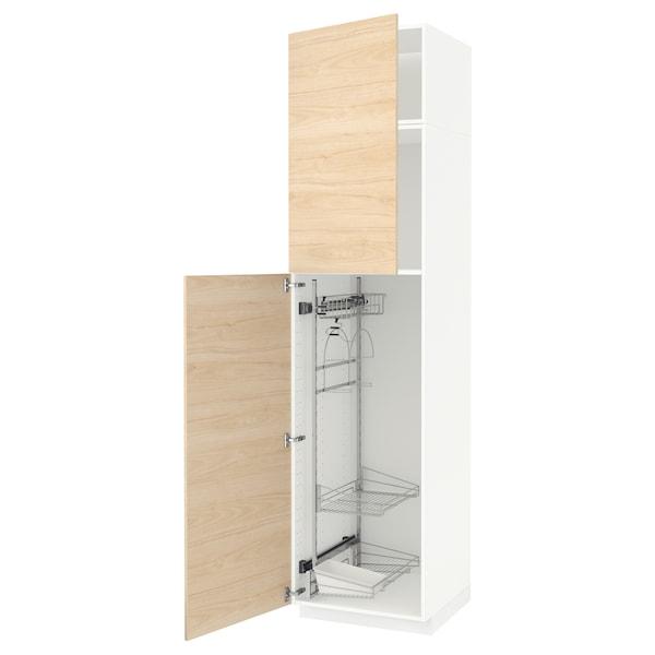METOD خزانة مرتفعة مع أرفف مواد نظافة, أبيض/Askersund مظهر دردار خفيف, 60x60x240 سم