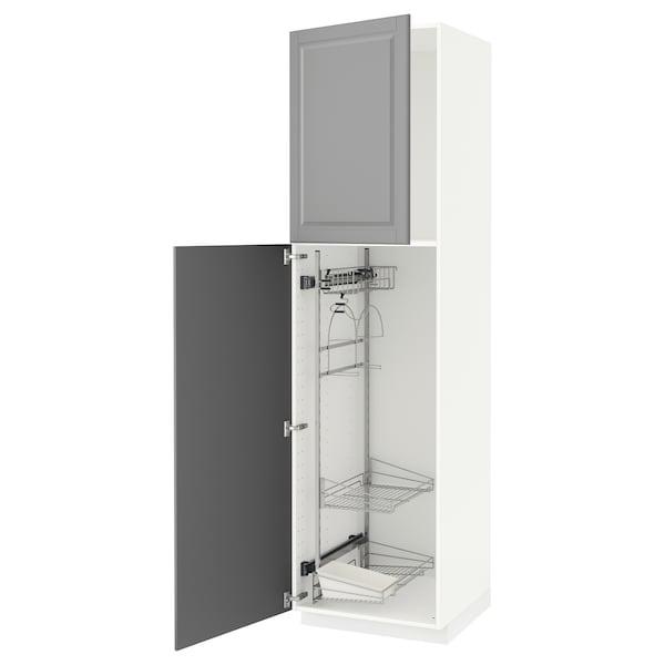 METOD خزانة مرتفعة مع أرفف مواد نظافة, أبيض/Bodbyn رمادي, 60x60x220 سم
