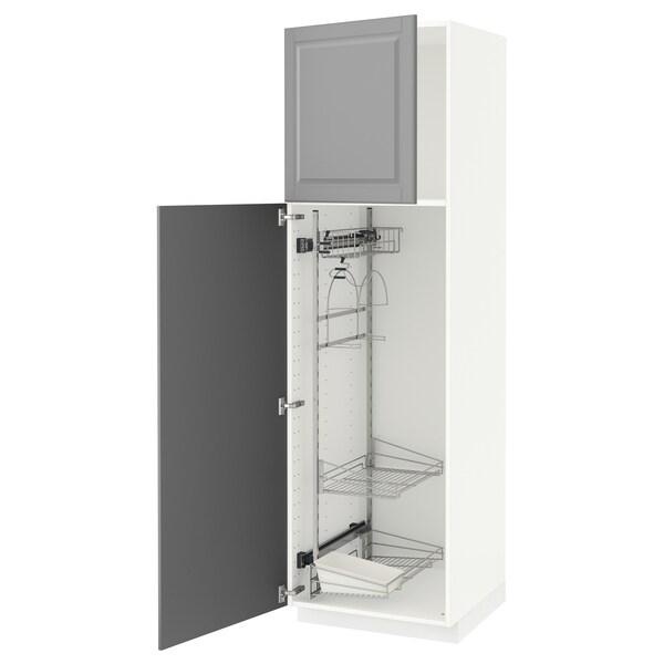 METOD خزانة مرتفعة مع أرفف مواد نظافة, أبيض/Bodbyn رمادي, 60x60x200 سم