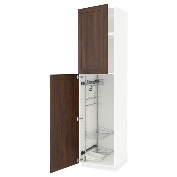 METOD خزانة مرتفعة مع أرفف مواد نظافة, أبيض/Edserum بني, 60x60x240 سم