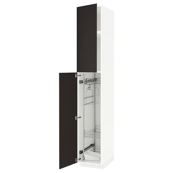 METOD خزانة مرتفعة مع أرفف مواد نظافة, أبيض/Kungsbacka فحمي, 40x60x240 سم