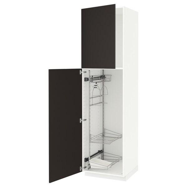 METOD خزانة مرتفعة مع أرفف مواد نظافة, أبيض/Kungsbacka فحمي, 60x60x220 سم