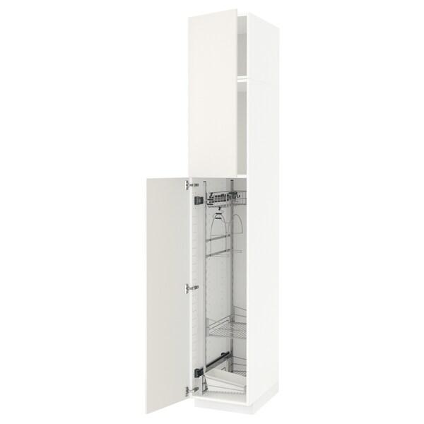 METOD خزانة مرتفعة مع أرفف مواد نظافة, أبيض/Veddinge أبيض, 40x60x240 سم