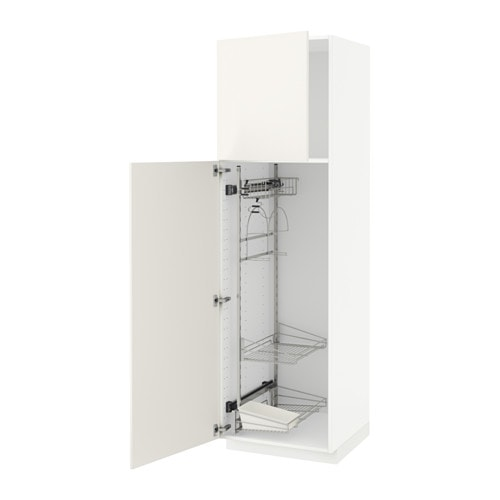 Metod high cabinet with cleaning interior white veddinge white 60x60x200 cm ikea - Cleaning inside kitchen cabinets ...