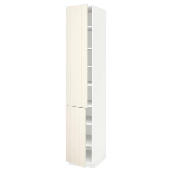 METOD High cabinet with shelves/2 doors, white/Hittarp off-white, 40x60x220 cm