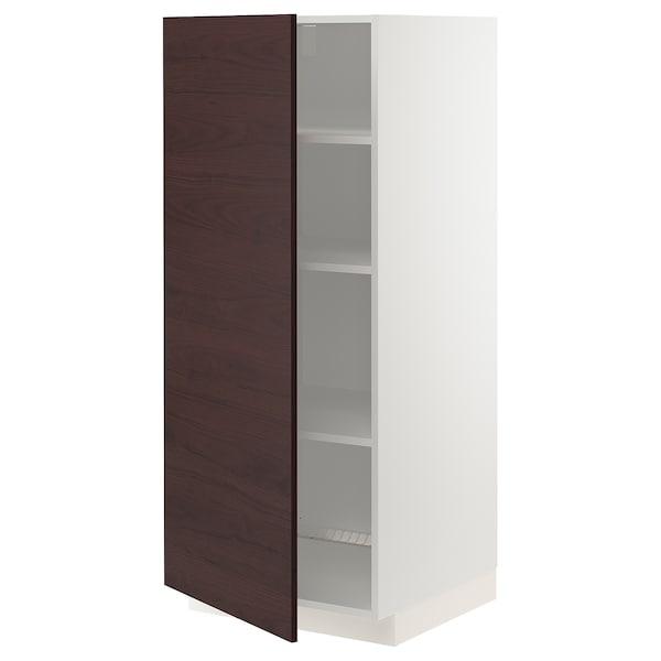 METOD High cabinet with shelves, white Askersund/dark brown ash effect, 60x60x140 cm