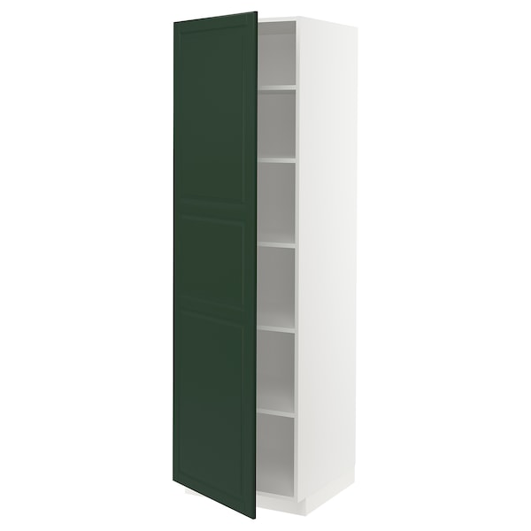 METOD High cabinet with shelves, white/Bodbyn dark green, 60x60x200 cm