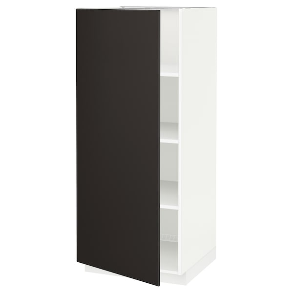 METOD High cabinet with shelves, white/Kungsbacka anthracite, 60x60x140 cm