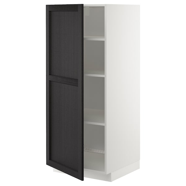 METOD High cabinet with shelves, white/Lerhyttan black stained, 60x60x140 cm