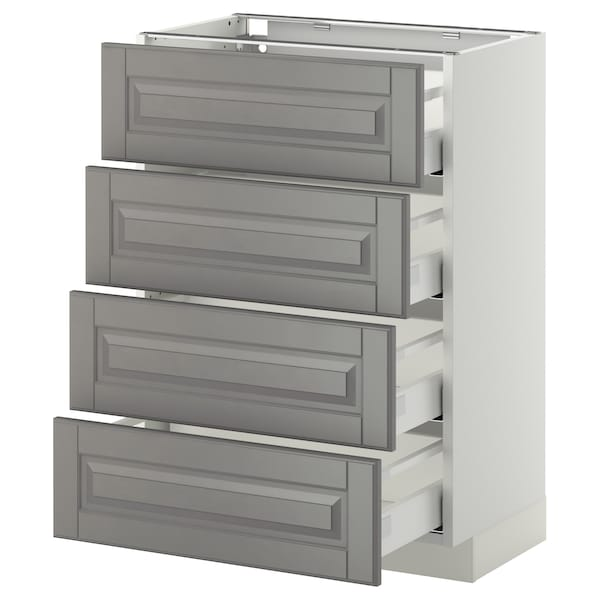 METOD / MAXIMERA Base cab 4 frnts/4 drawers, white/Bodbyn grey, 60x37 cm