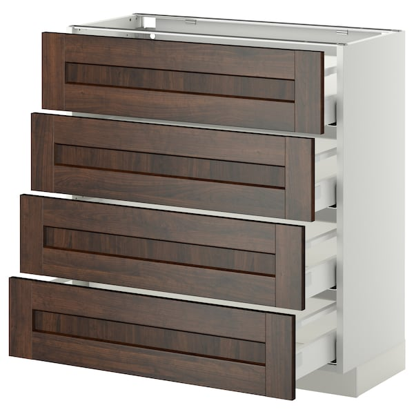 METOD / MAXIMERA Base cab 4 frnts/4 drawers, white/Edserum brown, 80x37 cm