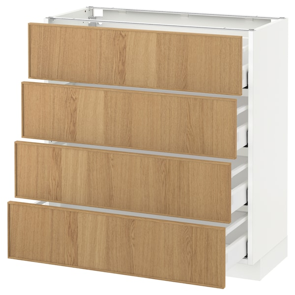 METOD / MAXIMERA Base cab 4 frnts/4 drawers, white/Ekestad oak, 80x37 cm