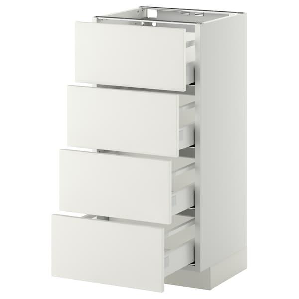 METOD / MAXIMERA Base cab 4 frnts/4 drawers, white/Häggeby white, 40x37 cm