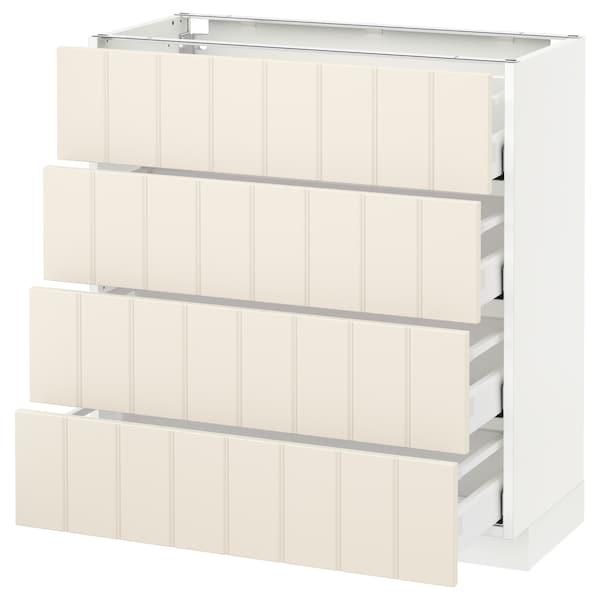 METOD / MAXIMERA Base cab 4 frnts/4 drawers, white/Hittarp off-white, 80x37 cm