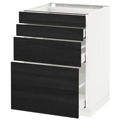 METOD / MAXIMERA خ. قاعدة 4 واجهات/4 أدراج, أبيض/Tingsryd أسود, 60x60 سم