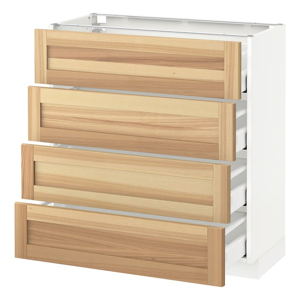 METOD / MAXIMERA Base cab 4 frnts/4 drawers, white/Torhamn ash, 80x37 cm