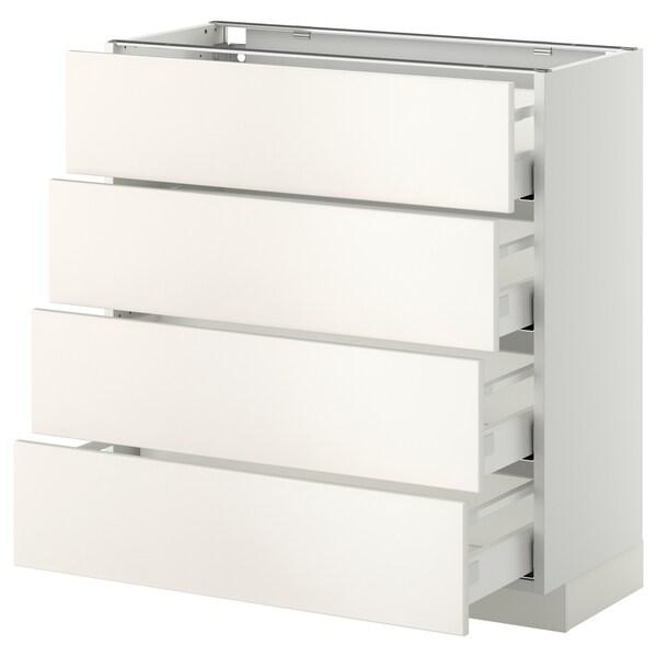 METOD / MAXIMERA Base cab 4 frnts/4 drawers, white/Veddinge white, 80x37 cm