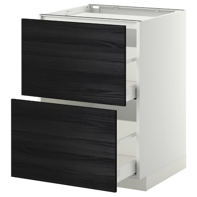 METOD / MAXIMERA Base cab f hob/2 fronts/2 drawers, white/Tingsryd black, 60x60 cm