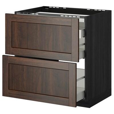 METOD / MAXIMERA Base cab f hob/2 fronts/3 drawers, black/Edserum brown, 80x60 cm