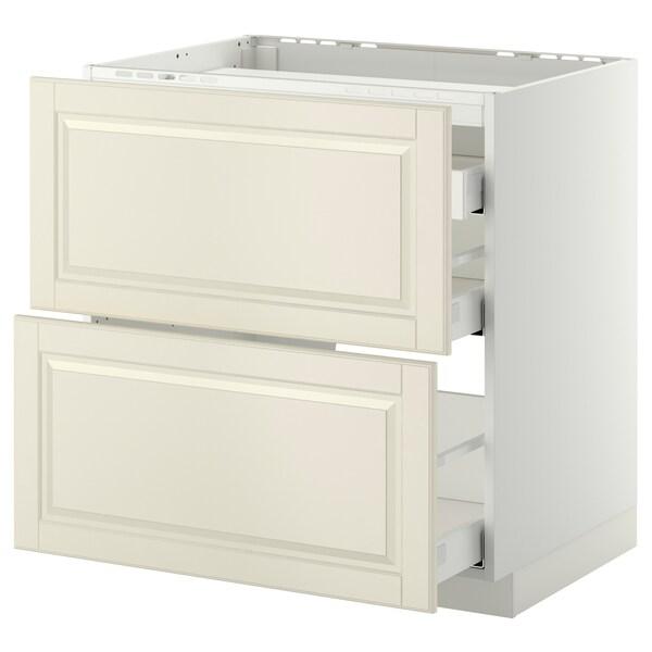 METOD / MAXIMERA خ. قاعدة لموقد/2 واجهات/3 أدراج, أبيض/Bodbyn أبيض-عاجي, 80x60 سم