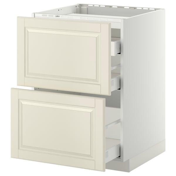 METOD / MAXIMERA خ. قاعدة لموقد/2 واجهات/3 أدراج, أبيض/Bodbyn أبيض-عاجي, 60x60 سم