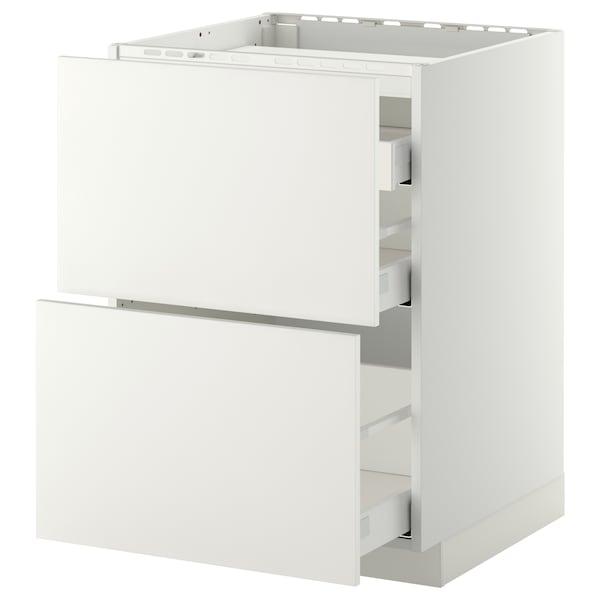 METOD / MAXIMERA Base cab f hob/2 fronts/3 drawers, white/Häggeby white, 60x60 cm