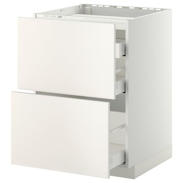 METOD / MAXIMERA خ. قاعدة لموقد/2 واجهات/3 أدراج, أبيض/Veddinge أبيض, 60x60 سم