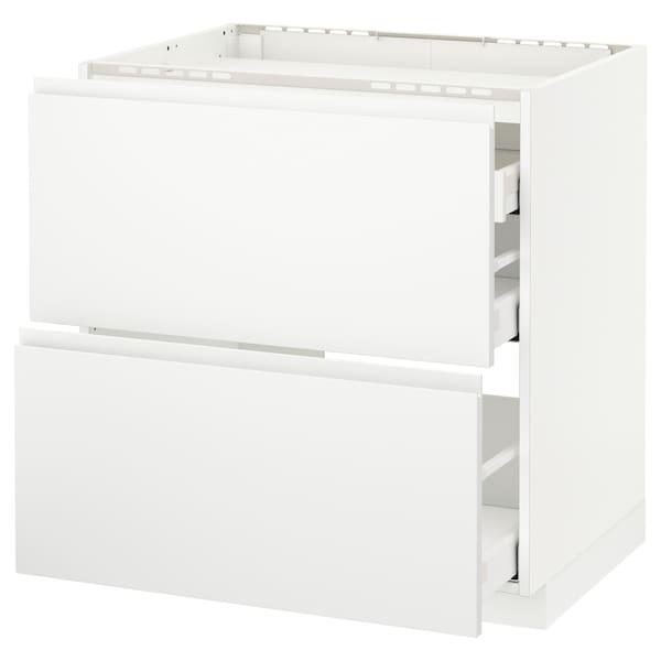 METOD / MAXIMERA خ. قاعدة لموقد/2 واجهات/3 أدراج, أبيض/Voxtorp أبيض مطفي, 80x60 سم