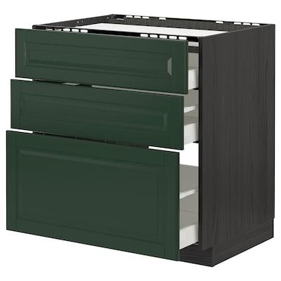 METOD / MAXIMERA Base cab f hob/3 fronts/3 drawers, black/Bodbyn dark green, 80x60 cm
