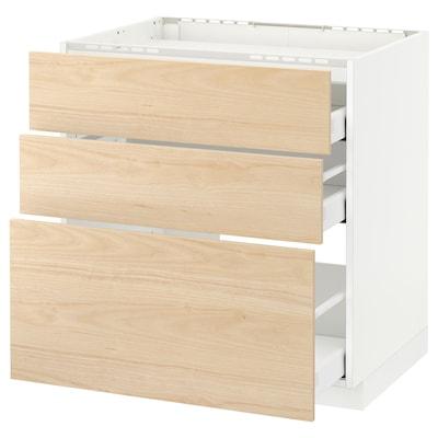 METOD / MAXIMERA Base cab f hob/3 fronts/3 drawers, white/Askersund light ash effect, 80x60 cm