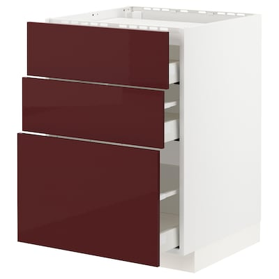 METOD / MAXIMERA Base cab f hob/3 fronts/3 drawers, white Kallarp/high-gloss dark red-brown, 60x60 cm