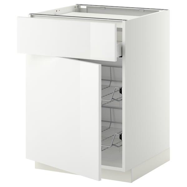 METOD / MAXIMERA Base cab f hob/drawer/2 wire bskts, white/Ringhult white, 60x60 cm