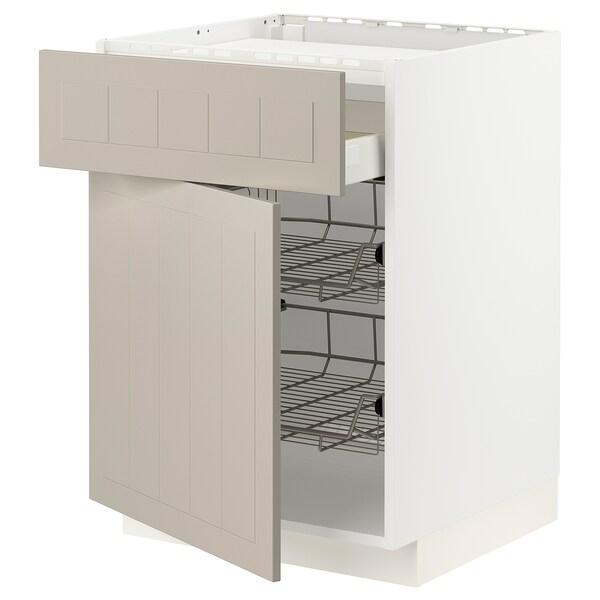 METOD / MAXIMERA Base cab f hob/drawer/2 wire bskts, white/Stensund beige, 60x60 cm