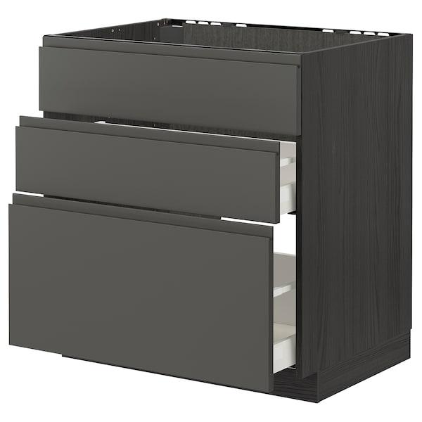 METOD / MAXIMERA خزانة قاعدة لموقد/شفاط مدمج مع درج, أسود/Voxtorp رمادي غامق, 80x60 سم