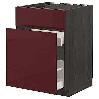 METOD / MAXIMERA Base cab f sink+3 fronts/2 drawers, black Kallarp/high-gloss dark red-brown, 60x60 cm