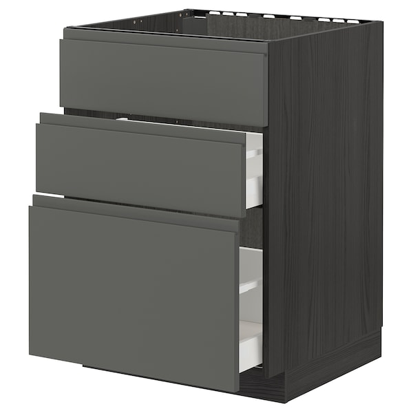 METOD / MAXIMERA Base cab f sink+3 fronts/2 drawers, black/Voxtorp dark grey, 60x60 cm