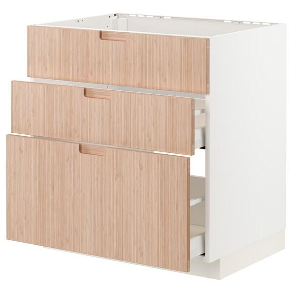 METOD / MAXIMERA Base cab f sink+3 fronts/2 drawers, white/Fröjered light bamboo, 80x60 cm