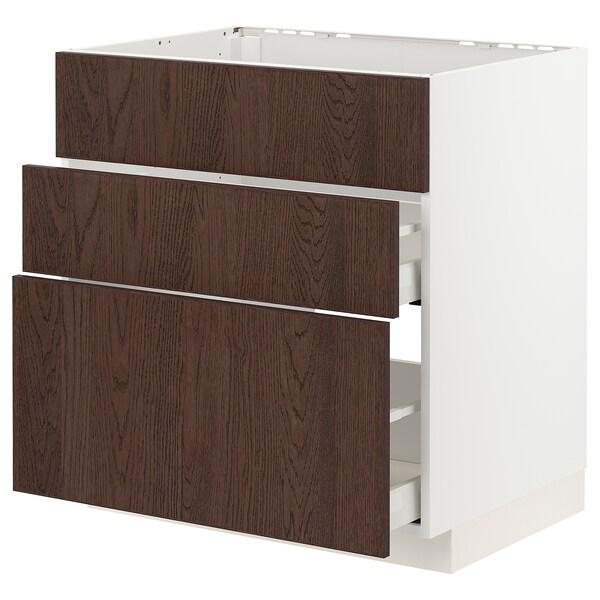METOD / MAXIMERA Base cab f sink+3 fronts/2 drawers, white/Sinarp brown, 80x60 cm