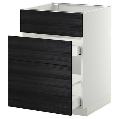 METOD / MAXIMERA خ. قاعدة لحوض+3 واجهات/2أدراج, أبيض/Tingsryd أسود, 60x60 سم