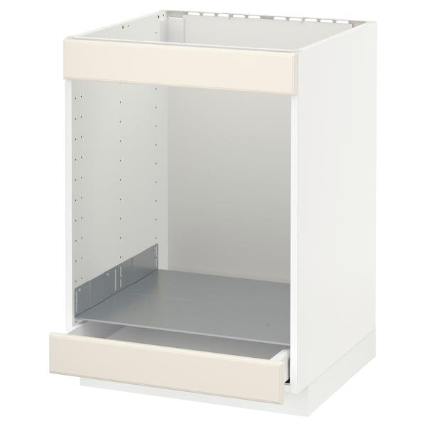 METOD / MAXIMERA خزانة قاعدة لموقد+فرن مع درج, أبيض/Bodbyn أبيض-عاجي, 60x60 سم
