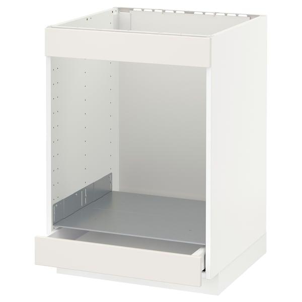 METOD / MAXIMERA خزانة قاعدة لموقد+فرن مع درج, أبيض/Veddinge أبيض, 60x60 سم