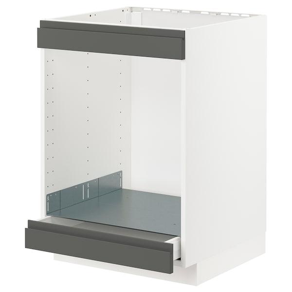 METOD / MAXIMERA خزانة قاعدة لموقد+فرن مع درج, أبيض/Voxtorp رمادي غامق, 60x60 سم