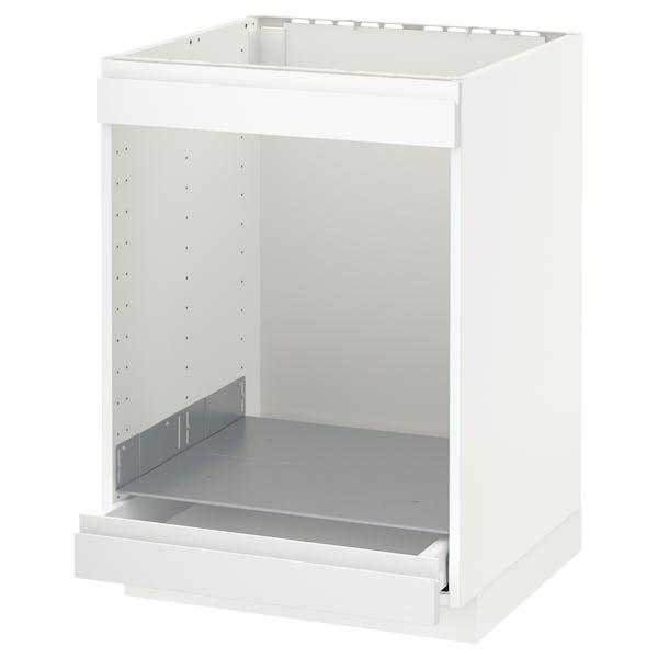 METOD / MAXIMERA خزانة قاعدة لموقد+فرن مع درج, أبيض/Voxtorp أبيض مطفي, 60x60 سم