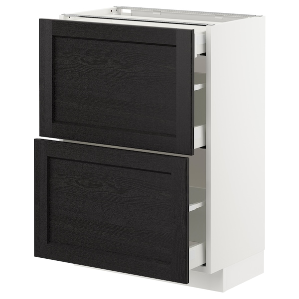 METOD / MAXIMERA Base cab with 2 fronts/3 drawers, white/Lerhyttan black stained, 60x37 cm