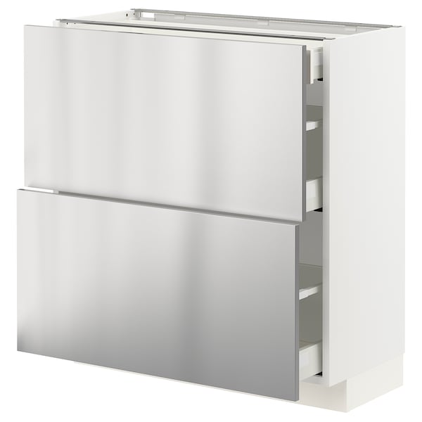 METOD / MAXIMERA Base cab with 2 fronts/3 drawers, white/Vårsta stainless steel, 80x37 cm