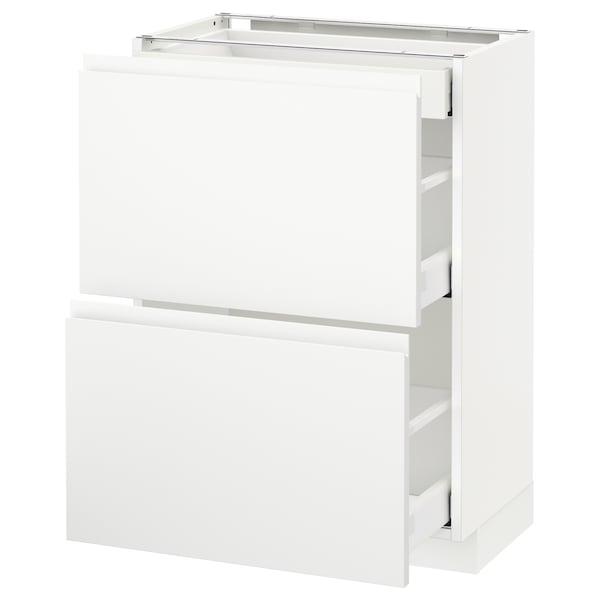 METOD / MAXIMERA خ. قاعدة مع 2واجهات/3أدراج, أبيض/Voxtorp أبيض مطفي, 60x37 سم