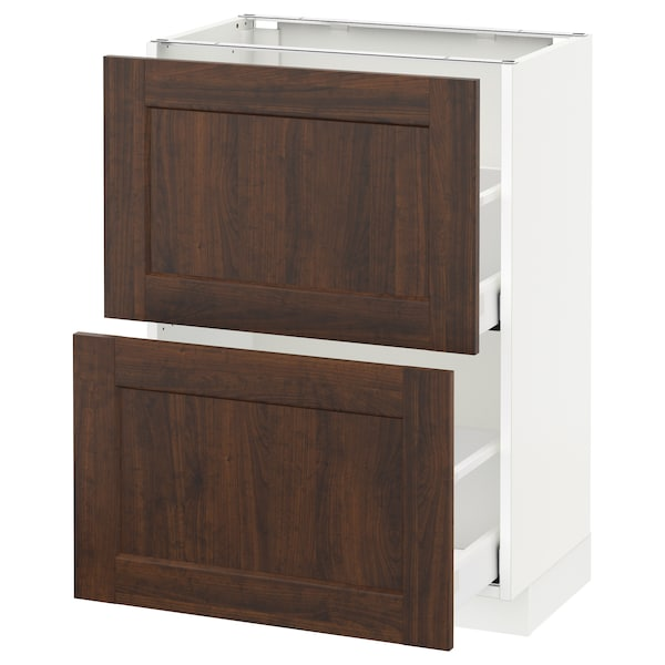 METOD / MAXIMERA وحدة تخزين ارضية مع درجين, أبيض/Edserum بني, 60x37 سم